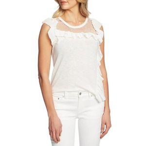 CeCe White Lace Yolk Flutter Sleeve Top Size XXL